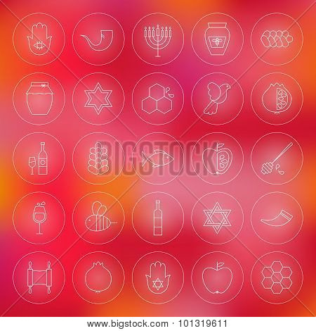 Thin Outline Jewish New Year Circle Line Icons Set