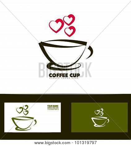 Coffee Cup Red Heart Logo