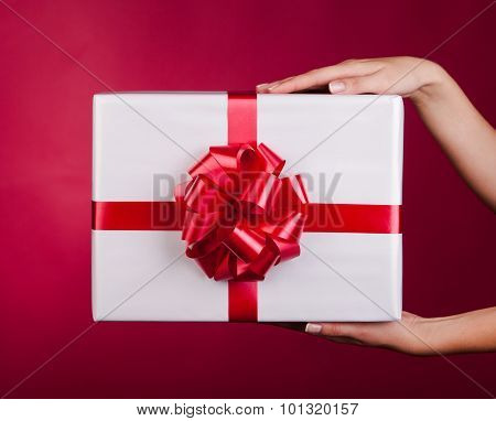 Female Hands Holding Small Gift With Ribbon.