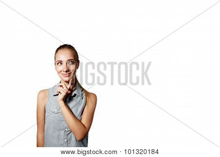Portrait Of Handsome Young Thoughtful Woman Isolated Over White Background