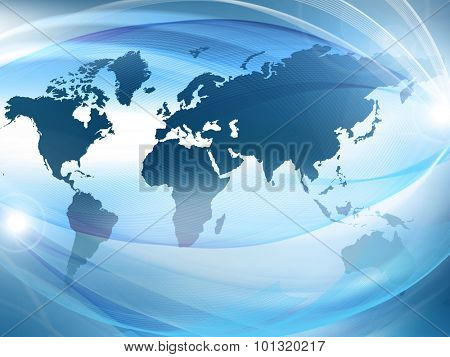 Map and glowing lines on technological background. Technology background.Electronics, bright lines and rays, symbols of the Internet, radio, television, mobile and satellite communications