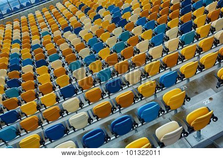 blue chair on sport stadium