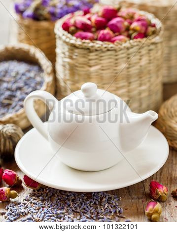 Teapot And Herbal Tea Assortment: Lavender, Roses And Chinese Forget-me-not