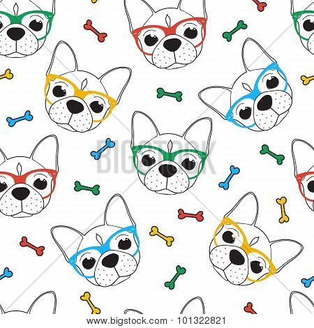 Seamless doodle hipster pattern with a bulldog in glasses