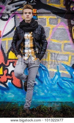 Fashion Male Portrait On Graffiti Wall
