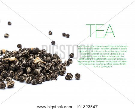 Hill of green tea on white background with text