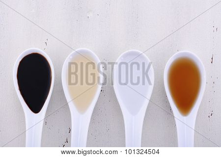Various Types Of Vinegar.