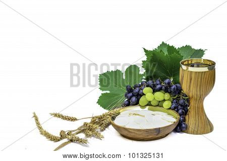 Bread And Wine Eucharist With Grapes And Wheat