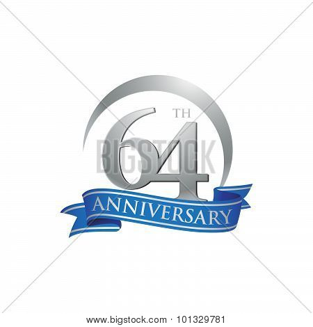 64th anniversary ring logo blue ribbon