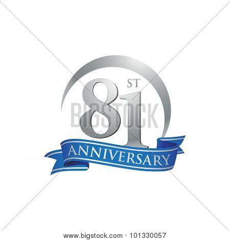 81st anniversary ring logo blue ribbon