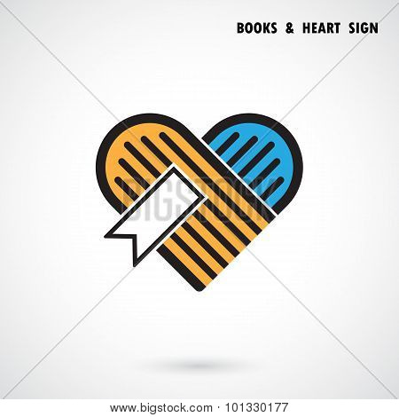 Creative Book And Heart Abstract Vector Logo Design.book Store And Library Vector Logo Design.learni