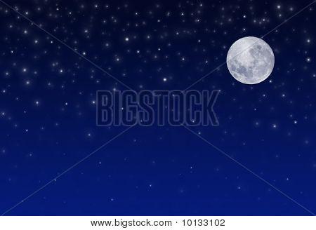 Cielo de la noche con las estrellas y la luna llena