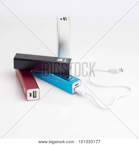 Group of power bank for mobile phones with usb charging cable