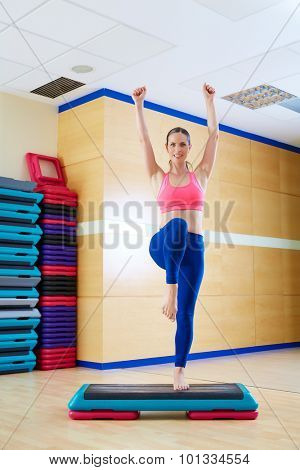 stepper step woman exercise workout at gym indoor