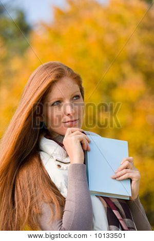 Autumn Park - Red Hair Woman With Book