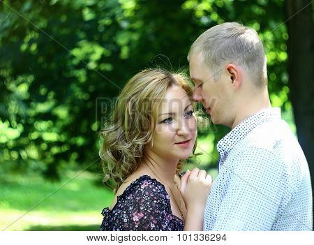 Young couple in love relaxing outdoor. Love Story