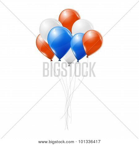 Blue, white and red balloons on white background