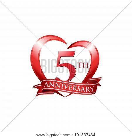 5th anniversary logo red heart ribbon