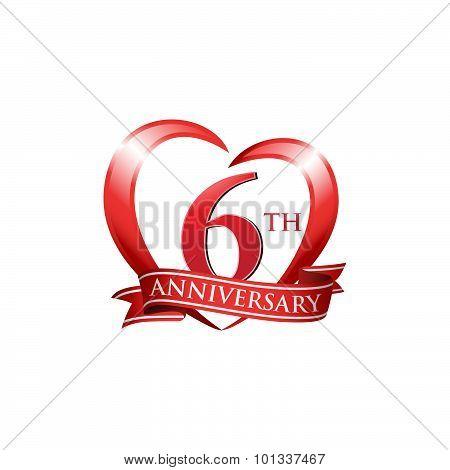 6th anniversary logo red heart ribbon