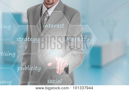 Business intelligence concept man pressing selecting PR