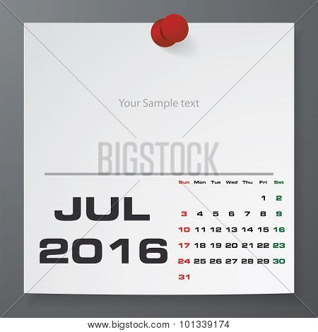 July 2016 Calendar on white paper with free space for your sample text.