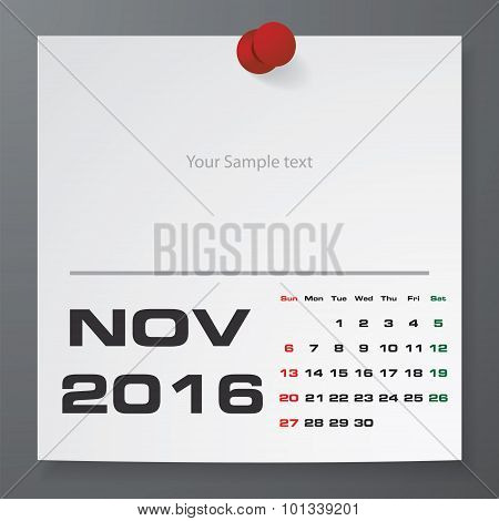 November 2016 Calendar on white paper with free space for your sample text.