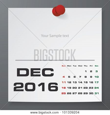 December 2016 Calendar on white paper with free space for your sample text.