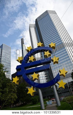 Euro Currency Symbol  Statue In Frankfurt Am Main Germany