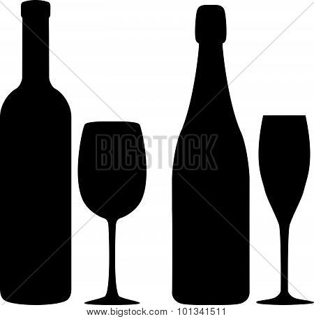 Illustration Of Siluettes Of Bottles And Glasses Of Wine And Shampagne.