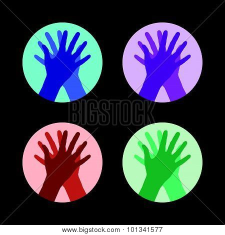 Set Of Icons With Two Hands Giving A High Five.