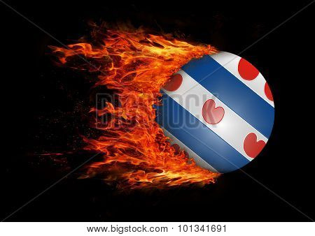 Flag With A Trail Of Fire - Friesland