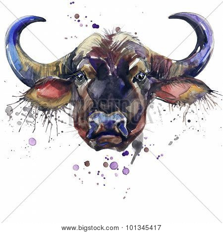 buffalo T-shirt graphics,  African animals buffalo illustration with splash watercolor textured back