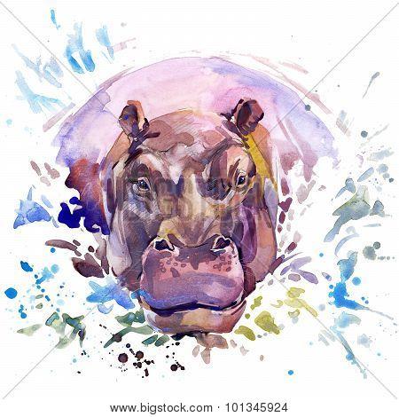 African animals hippopotamus illustration with splash watercolor textured background