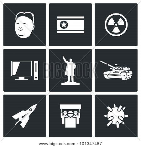 North Korea Icons. Vector Illustration.