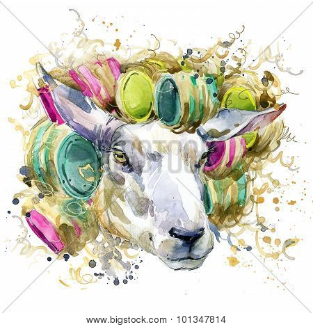 sheep wife,  T-shirt graphics. sheep illustration with splash watercolor textured  background. unusu