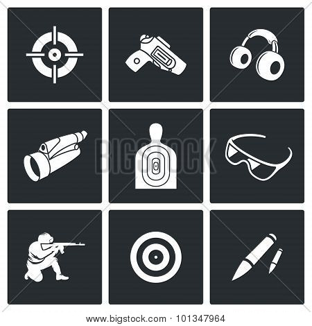 Shooting Gallery Icons. Vector Illustration.