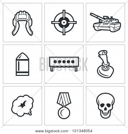 Tank Biathlon Icons. Vector Illustration.