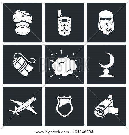 Terrorism Icons. Vector Illustration.