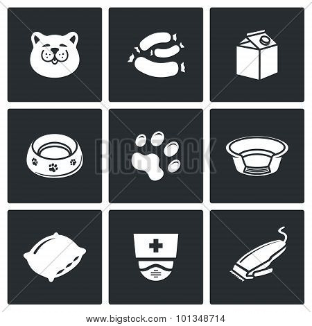 Cat Icon Set. Vector Illustration