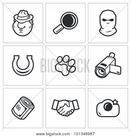 Detective Icons Set. Vector Illustration