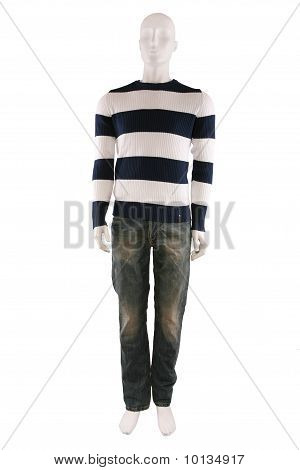 Male Mannequin Dressed In Sweater And Jeans
