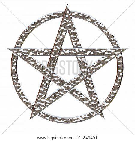 Pentagram Hammered Chrome