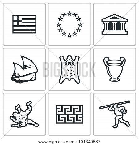 Greece Vector Icons. Vector Illustration