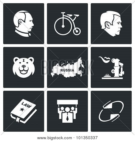 Russia Country Icons. Vector Illustration.