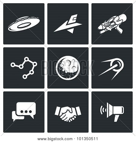 Aliens, Search, Contact Icons. Vector Illustration.