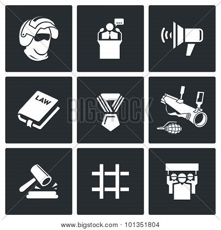 Armed Revolution Icons. Vector Illustration.
