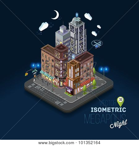 City concept with isometric buildings shops offices cafes