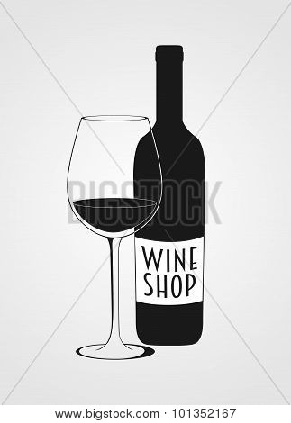 vector wine shop logotype including wine bottle, wine glas