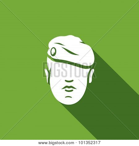 Maroon Military Beret Of Army Special Forces Icon. Vector Illustration.