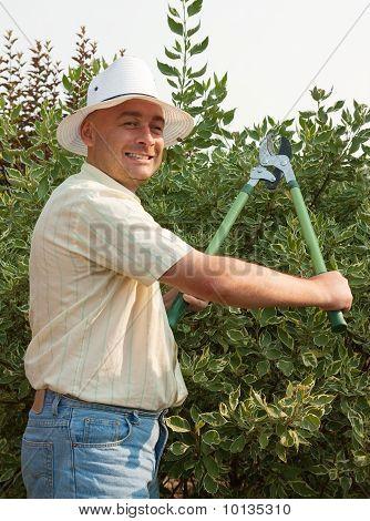 Man With  Garden Pruner
